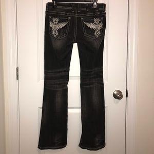 Miss Me Black Distressed Boot Cut Jeans. EUC